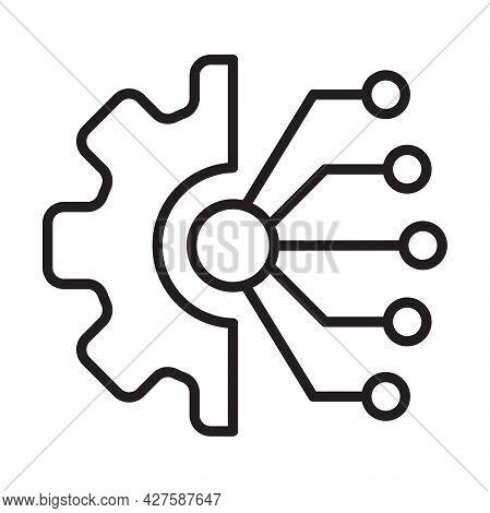 Data Integration Outline Icon Vector For Graphic Design, Logo, Web Site, Social Media, Mobile App, U