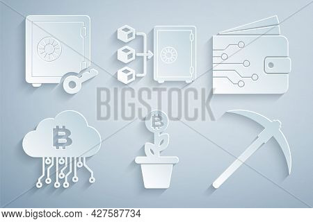 Set Bitcoin Plant In The Pot, Cryptocurrency Wallet, Cloud Mining, Pickaxe, Proof Of Stake And Icon.