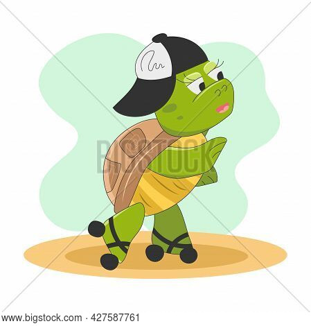 Cute Turtle Character On Roller Skates.sport Walk. Childrens Illustration With Funny Animals.vector