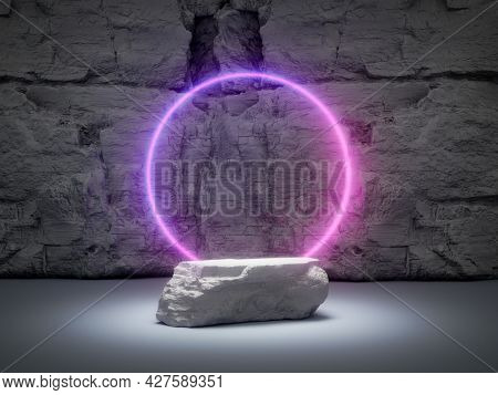 Stone product stand, glowing neon ring on rock background, 3D illustration, rendering.