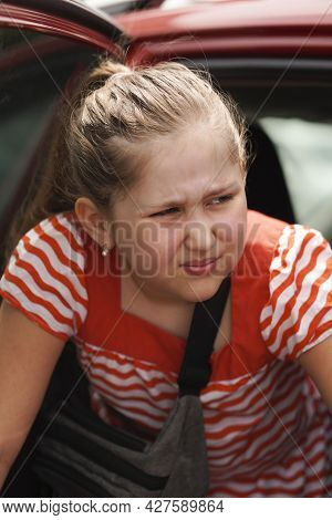 I Don't Want To Go To School.  Girl Is Angry And Disappointed With School Reopen. Portrait Of Unhapp