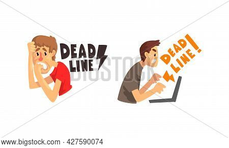Deadline Set, Stressed Office Worker Working Overtime Cartoon Vector Illustration