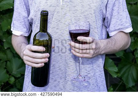 The Winemaker Holds A Bottle A Glass Of Red Wine In His Hands