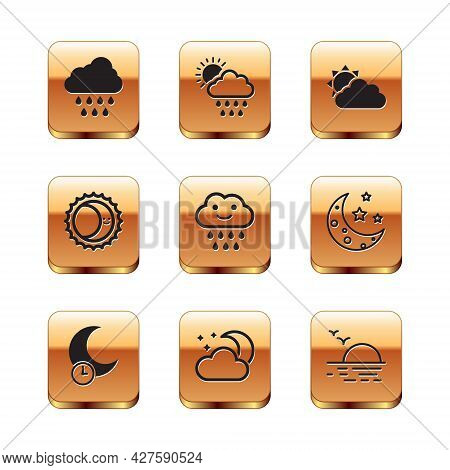 Set Cloud With Rain, Sleeping Moon, And Stars, Eclipse Of The Sun, Sun Cloud Weather, Sunset And Ico