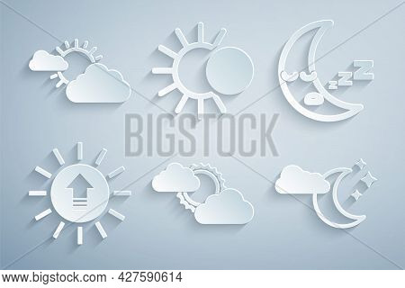 Set Sun And Cloud Weather, Moon Icon, Sunset, Cloud With Moon Stars, Eclipse Of Sun And Icon. Vector