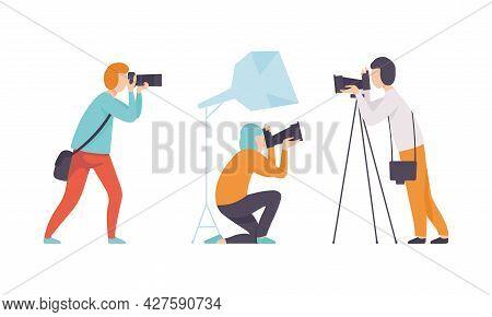 Man Photographer Shooting With Professional Camera Vector Set
