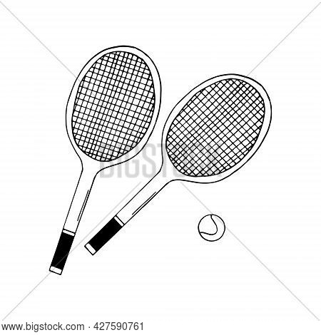 Tennis Two Rackets And Ball Set. Hand Drawn Doodle Icon. Vector, Scandinavian, Nordic, Minimalism, M