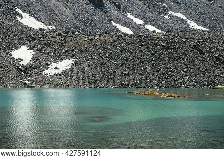Beautiful Scenic Landscape With Turquoise Mountain Lake. Azure Glacial Lake In Sunlight. Colorful Su