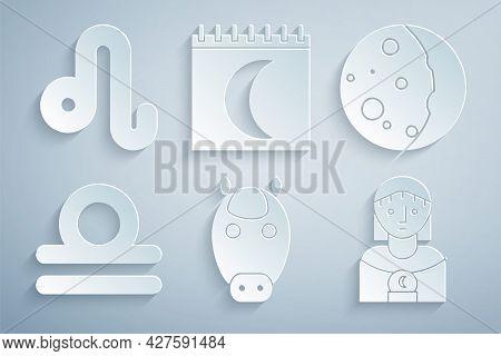 Set Horse Zodiac, Eclipse Of The Sun, Libra, Astrology Woman, Moon Phases Calendar And Leo Icon. Vec