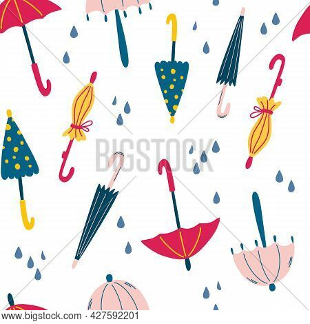 Seamless Pattern With Umbrellas And Raindrops. Fashionable Clothes In Bad Weather. Scandinavian Styl