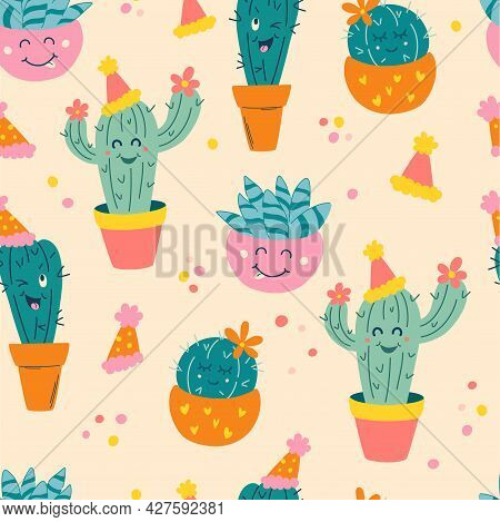 Cute Seamless Pattern With Cactus. Cartoon Cacti In Festive Hats. Background For  Holiday, Birthday