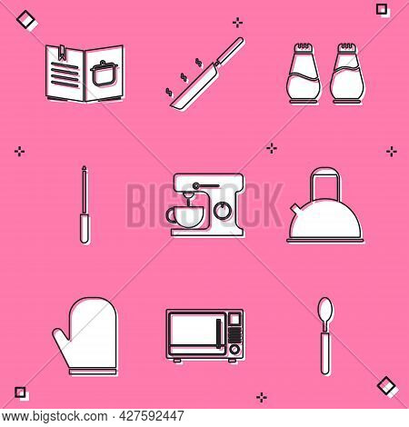Set Cookbook, Frying Pan, Salt And Pepper, Knife Sharpener, Electric Mixer, Kettle With Handle, Oven
