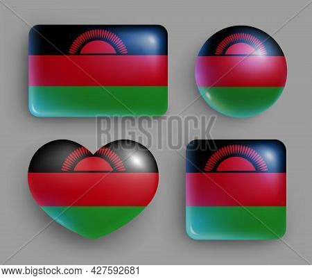 Set Of Glossy Buttons With Malawi Country Flag. Southern Africa Country National Flag, Shiny Geometr