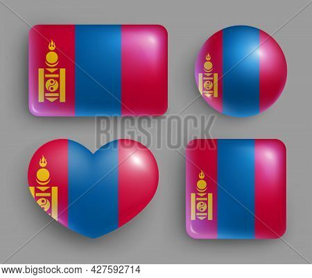 Set Of Glossy Buttons With Mongolia Country Flag. East Asia Country National Flag, Shiny Geometric S