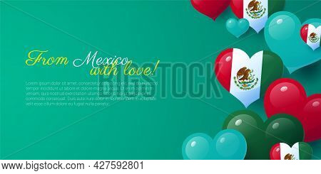From Mexico With Love Greeting Card Realistic Design. National Independence Day Of Mexico Horizontal