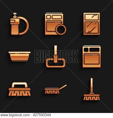 Set Mop, Brush For Cleaning, Handle Broom, Kitchen Dishwasher Machine, Plastic Basin, Cleaning Servi