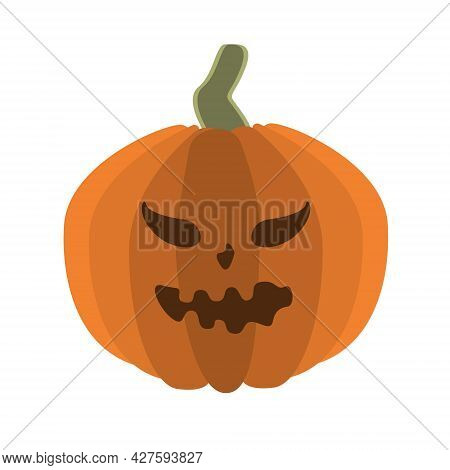 Vector Pumpkin With A Face For Halloween. Festive Pumpkin For Decoration On A Traditional Holiday