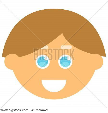 Avatar Face Smiling Man. Vector Illustration. Male Cartoon Icons.