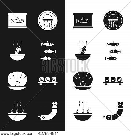 Set Fishes, Soup With Octopus, Canned Fish, Jellyfish On Plate, Shell Pearl, Sushi Cutting Board, Sh