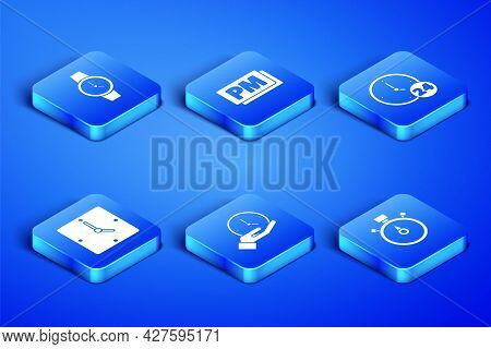 Set Stopwatch, Wrist, Clock, Pm And 24 Hours Icon. Vector