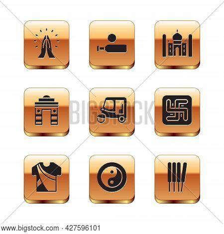 Set Hands In Praying Position, Indian Man Dress, Yin Yang, Taxi Tuk Tuk, Gate Delhi, Taj Mahal, Arom