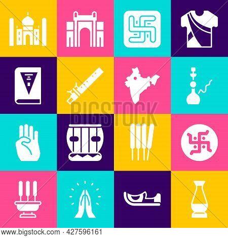 Set Indian Vase, Hindu Swastika, Hookah, Bamboo Flute Indian, Constitution Day, Taj Mahal And Map Ic