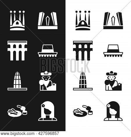 Set Spanish Hat, Aqueduct Of Segovia, Sagrada Familia, Gate Europe, Agbar Tower, Bullfight, Matador,