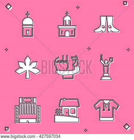 Set Church Tower, Building, Ukrainian Footwear, Chestnut Leaf, Monument Founders Of Kiev, Mother Mot