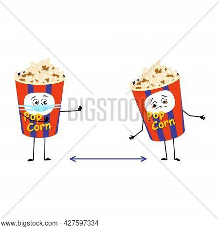 Cute Popcorn Character In A Holiday Box With Sad Emotions, Face And Mask Keep Distance, Arms And Leg