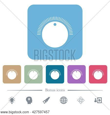 Simple Volume Control White Flat Icons On Color Rounded Square Backgrounds. 6 Bonus Icons Included