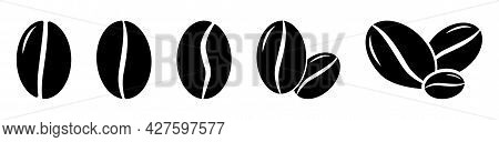 Set Of Coffee Beans Icons. Vector Illustration Isolated On White Background