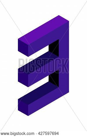 Dark Blue Number 3 In Isometric Style. Isolated On White Background. Learning Numbers, Serial Number