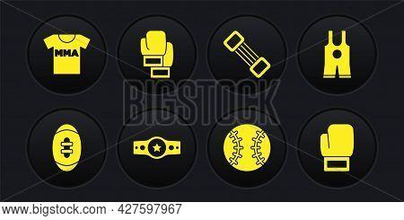 Set American Football Ball, Wrestling Singlet, Boxing Belt, Baseball, Chest Expander, Glove, And T-s