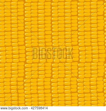Seamless Pattern With Grains Of Corn On A Yellow Background. Summer Or Autumn Print Of The Harvest O