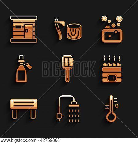 Set Sauna Brush, Shower, Thermometer, Hot Sauna Stones, Wood Bench, Essential Oil Bottle, Bar Of Soa