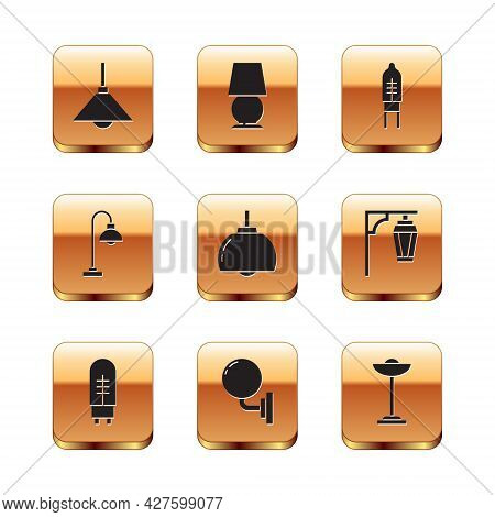 Set Lamp Hanging, Light Emitting Diode, Wall Lamp Or Sconce, Chandelier, Floor, And Table Icon. Vect
