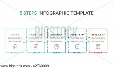 Infographic Template With Five Elements With Place For Your Text And Icons, Workflow, Process Chart,