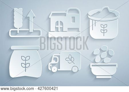 Set Flour Truck, Bag Of Flour, Seeds In Bowl, Farm House And Wheat Icon. Vector