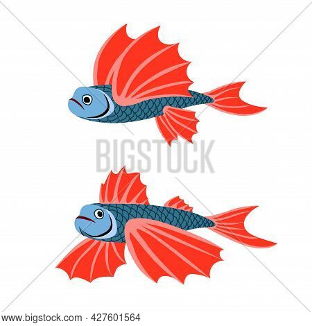A Pair Of Flying Fish With Red Fins, Underwater Creatures, Small Sea Monsters, A Color Vector Illust