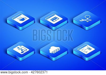Set Software, Web Development, Flowchart, Search Engine And Debugging Icon. Vector
