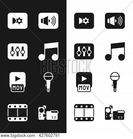 Set Music Note, Tone, Sound Mixer Controller, Or Video Settings, Speaker Volume, Mov File, Microphon
