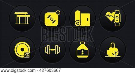 Set Weight Plate, Smart Watch With Heart, Dumbbell, Sports Nutrition, Fitness Mat Roll, App, Broken