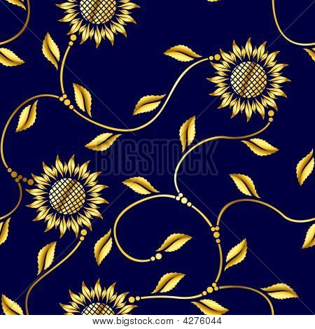 Seamless pattern with sunflowers inspired by Indian saris. The tiles can be combined seamlessly Graphics are grouped and in several layers for easy editing. The file can be scaled to any size. poster