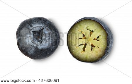 Top View Of Blueberry And Half Blueberry Isolated On White Background