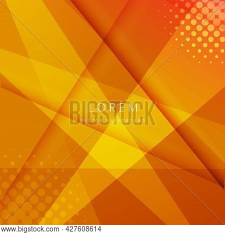 Abstract Modern Orange Geometric Background Diagonal Overlapping With Space For Your Text. Technolog