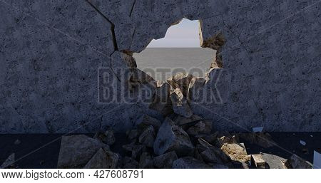 Wall With Breakdown In The Middle 3d-rendered