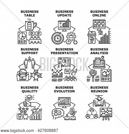 Business Evolution Set Icons Vector Illustrations. Business Evolution And Online Presentation, Table
