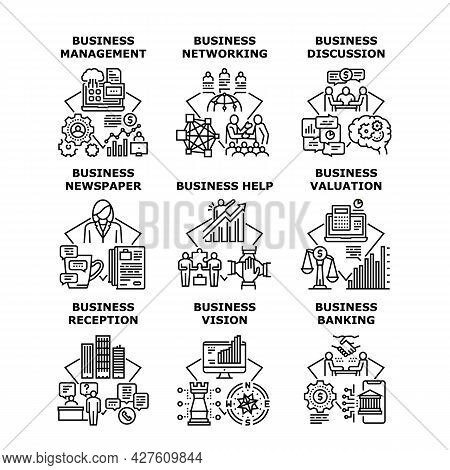 Business Vision Set Icons Vector Illustrations. Business Vision And Discussion, Management And Newsp