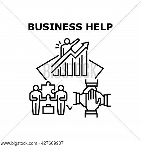 Business Help Vector Icon Concept. Business Help And Support For Resolve Problem Or Increase Sales,