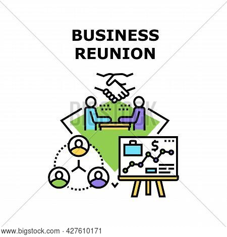 Business Reunion Vector Icon Concept. Business Reunion Entrepreneur With Employee Or Partner, Brains